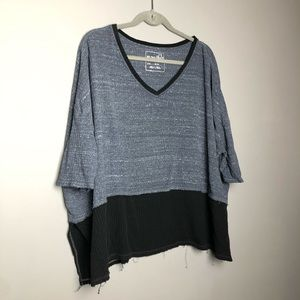 Free People color block comfy waffle knit t-shirt